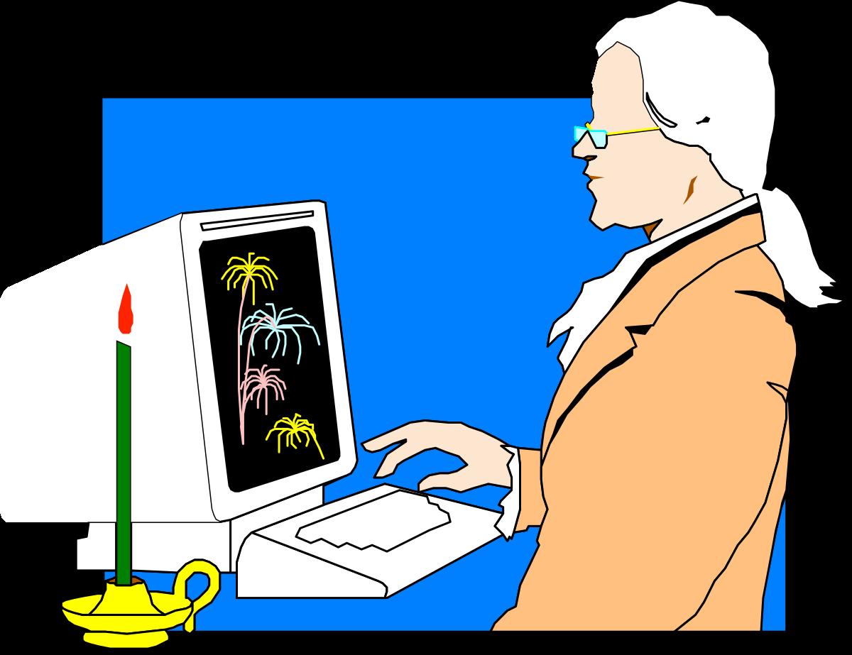 Computer Vector Illustration Technology Internet Computer Monitor People Men Business Laptop Occupation Working PC Communication Design Desktop PC Computer Keyboard
