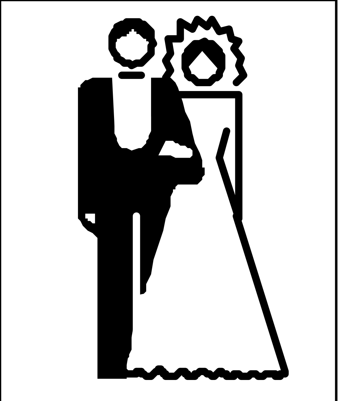 Vector Illustration Silhouette People Men Outline Black And White Suit Black Color Isolated Symbol Businessman Computer Graphic Women Occupation Adult Line Art Males Business One Person Clip Art Sign Working